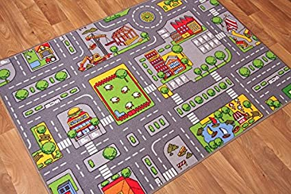 Childrens Play Village Mat Town City Roads Rug 95cm X 133cm 3ft 1