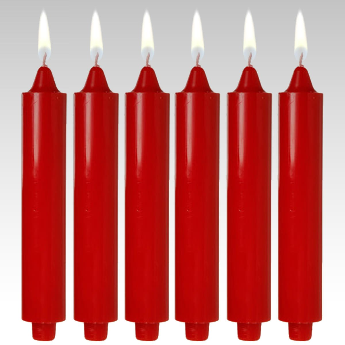 9'' Red Club Candles (Set of 6) Dripless and Smokeless Made in USA
