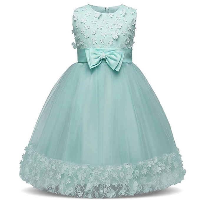 Lenfesh Elegante Vestidos de Princesa de Boda Bautizo Fiesta para Niña Sin Mangas Birthday Dress: Amazon.es: Ropa y accesorios