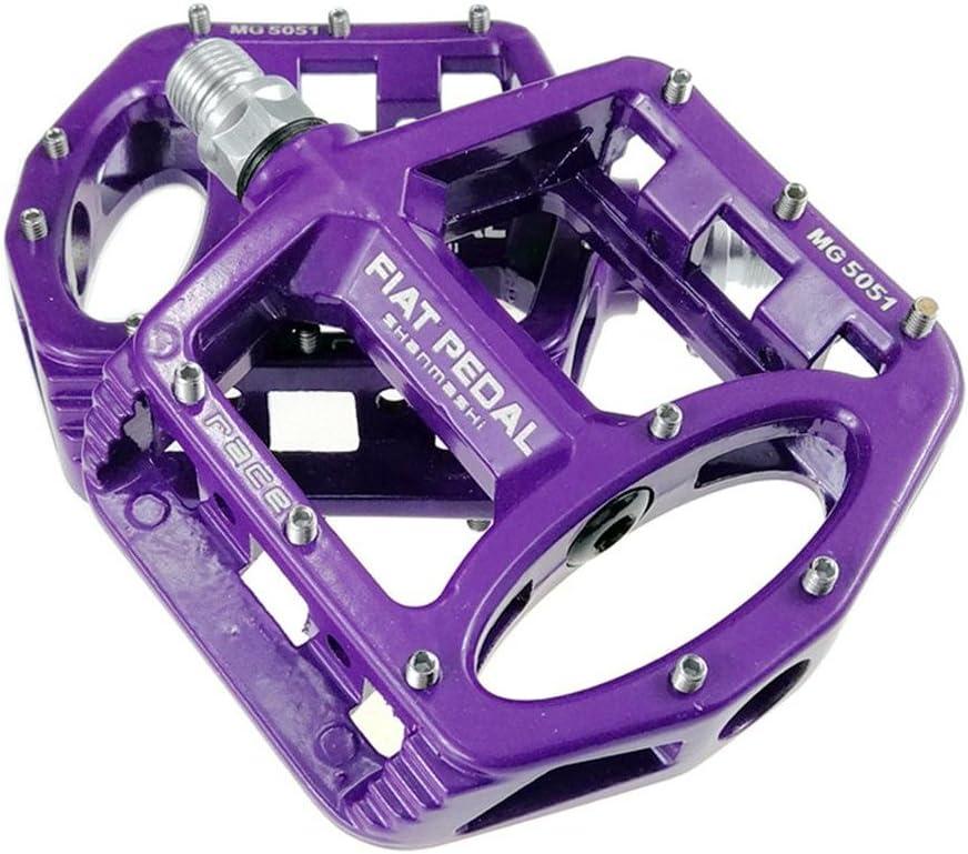 haodene pedales bicicleta de carretera pedales planas aleación magnesio ciclismo racing con antideslizante superficie Plate 4colores Negro Rojo Titanio púrpura una par, morado