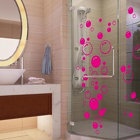 Saingace Wandaufkleber Wandtattoo Wandsticker,Bubbles Kreis entfernbare  Wand Tapete Badezimmer-Fenster-Aufkleber-Abziehbild-Ausgangs DIY (Hot Pink)