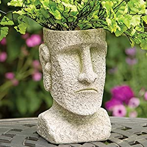 Bits and Pieces - Indoor/Outdoor Easter Island Statue Planter - Urn for Plants - Durable Polyresin Sculpture 16