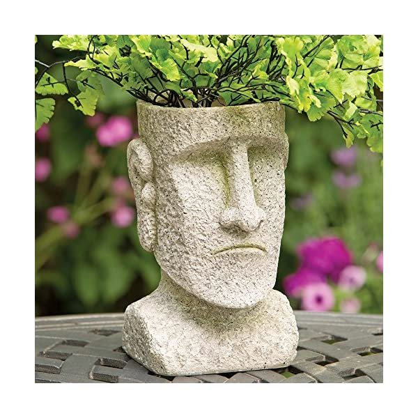 Bits and Pieces – Indoor/Outdoor Easter Island Statue Planter – Urn for Plants – Durable Polyresin Sculpture