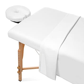 Saloniture 3 Piece Flannel Massage Table Sheet Set   Soft Cotton Facial Bed  Cover