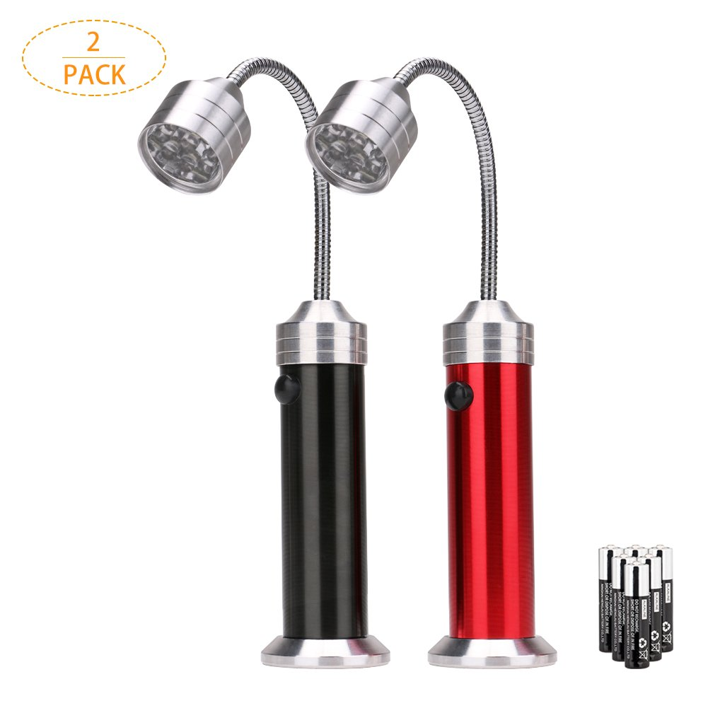 Linkax Barbecue Grill Light Ultra-Bright LED BBQ Light 2 Pack Super-Bright LED Lights Magnetic Base 360 Degree Flexible Gooseneck for Any Gas/Charcoal/Electric Grill & 6 Pcs AAA Batteries