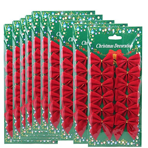 Insho 120 Pcs 6 cm Red Christmas Bows Wreaths Decoration Tree Ornaments Velvet Bow - Red