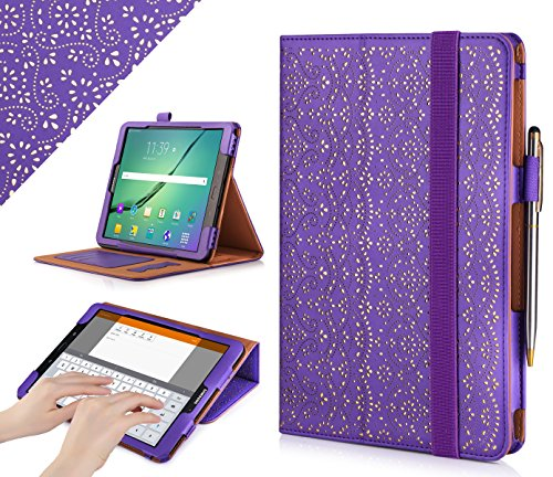 WWW Galaxy S3 9.7 Case, [Luxury Laser Flower] Premium PU Leather Case Protective Cover with Auto Wake/Sleep Feature for Samsung Galaxy S3 9.7 Purple (Samsung Galaxy S3 Best Features)