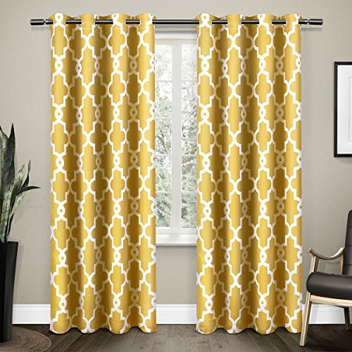 Cheap  Exclusive Home Ironwork Sateen Woven Blackout Window Curtain Panel Pair with Grommet..