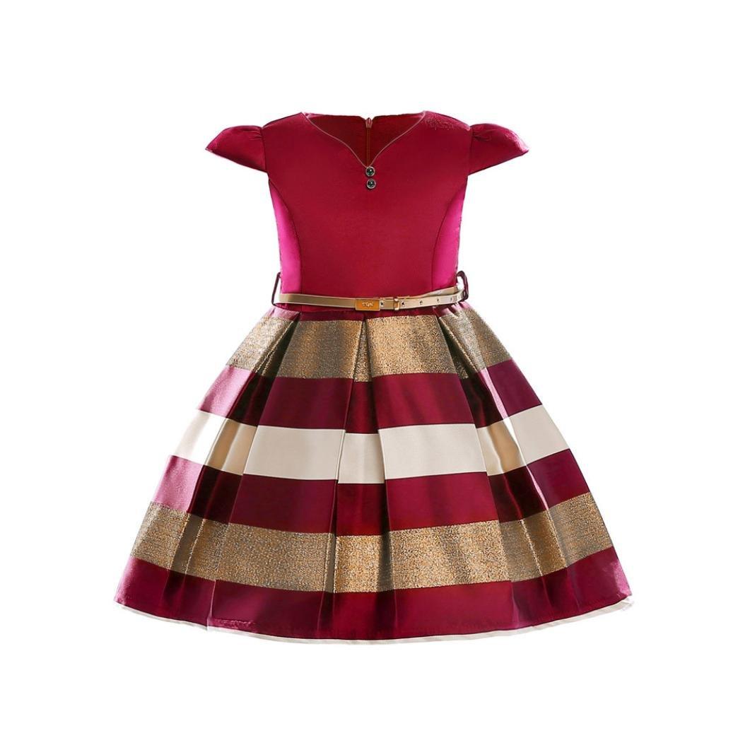 Kobay Girls Little Flying Sleeve Stripe Princess Dress + Belt, Toddler Kids Baby Girl Clothes Belt Wedding Bridesmaid Pageant Princess Dress Suitable for 2-9 Years Princess