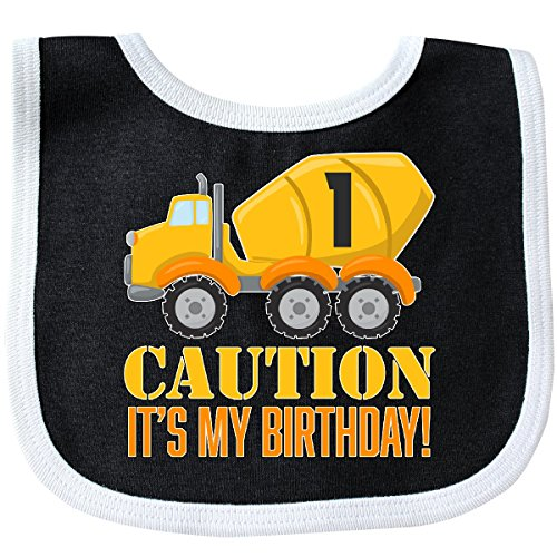 Inktastic - 1st birthday construction truck, cement Baby Bib Black/White 2c77a
