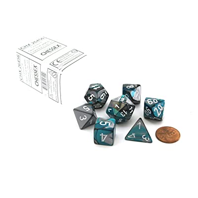 Chessex Polyhedral 7-Die Gemini Dice Set - Steel-Teal with White CHX-26456: Toys & Games