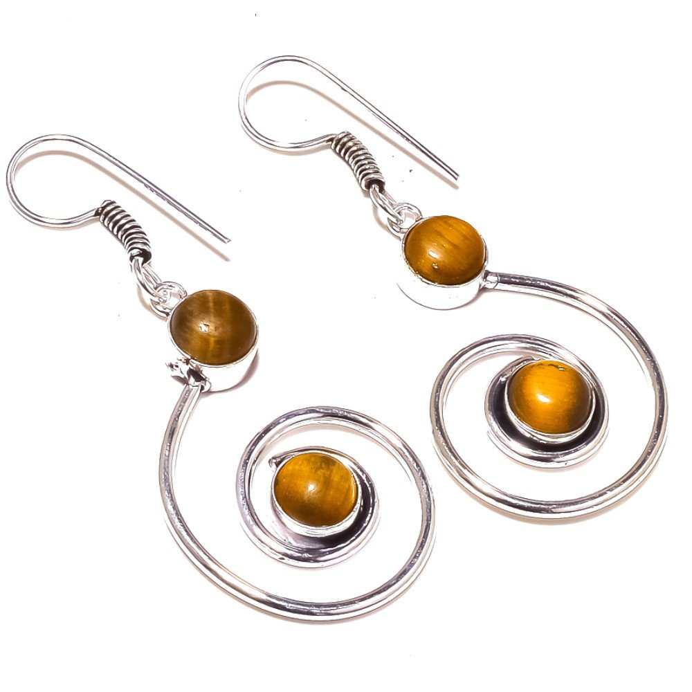 Gorgeous Brown Tiger Eye Sterling Silver Overlay 10 Grams Earring 2.25 Long