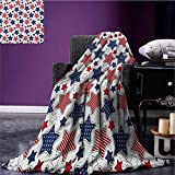 USA travel blanket Big Star Figures with American Flag Featured Inner Lines Proud Country Design Flannel blanket Indigo Red White size:50''x60''