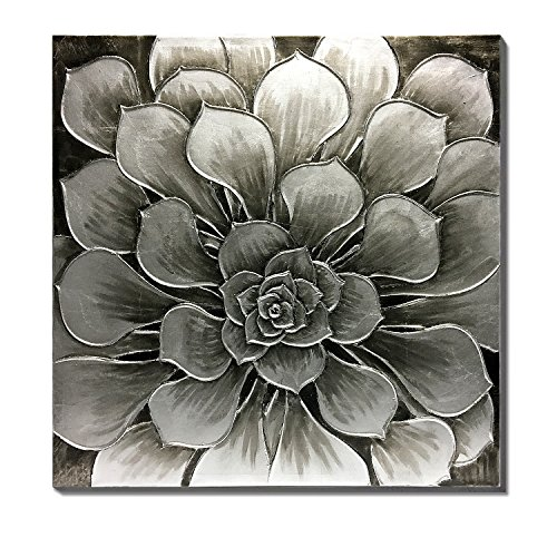 - 3Hdeko - Modern Silver Gray Flower Picture Wall Art Cubism Grey Floral Oil Painting for Living Room Bedroom Bathroom Decoration, 100% Hand-Painted on Silver Foil Canvas - Ready to Hang (30x30″)