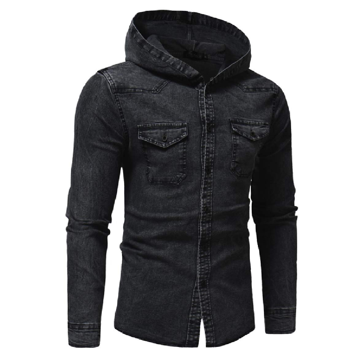 QUHS Mens Autumn Denim Pockets Long Sleeve Casual Washed Hood Open Front Shirt