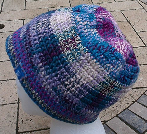 BlueBear hand crochet hemp and bamboo hat in purples, blues, and cream.