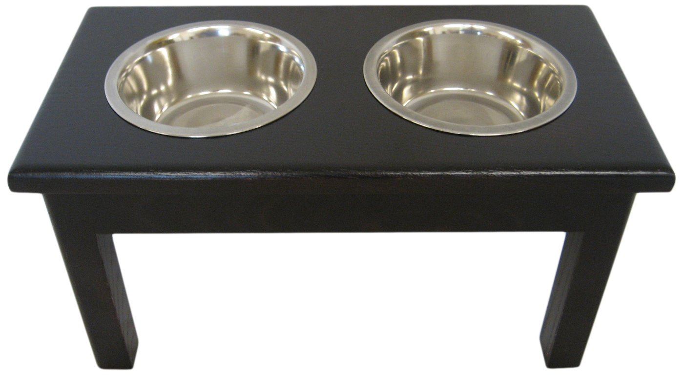 Classic Pet Beds 2-Bowl Traditional Style Ash Pet Diner, Large, Espresso