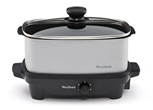 West Bend 84915 5-Quart Oblong-Shaped Slow Cooker with Tote (Discontinued by Manufacturer)