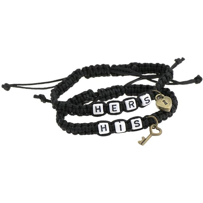 Emma His & Hers Lock and Key Couple Bracelet Lovers Bracelets Adjustable For Girlfriend Boyfriend Chain Bangle NAc7qh