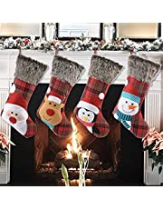 Christmas Stockings, 4 Pack 18 inches Plaid Fluffy Faux Fur Cuff Stockings, Red Black Buffalo Checked Christmas Stockings for Xmas Holiday Family Decoration