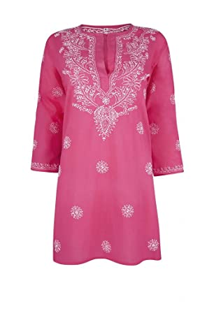 cdee032946c66 Ladies Deep Raspberry Pink Beach Kaftan Cover Up with White Hand  Embroidery  Amazon.co.uk  Clothing
