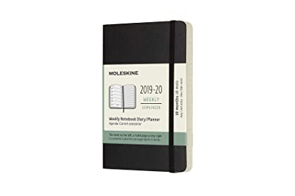 Moleskine 2019-20 Weekly Planner, 18 Month, Pocket, Black, Soft Cover