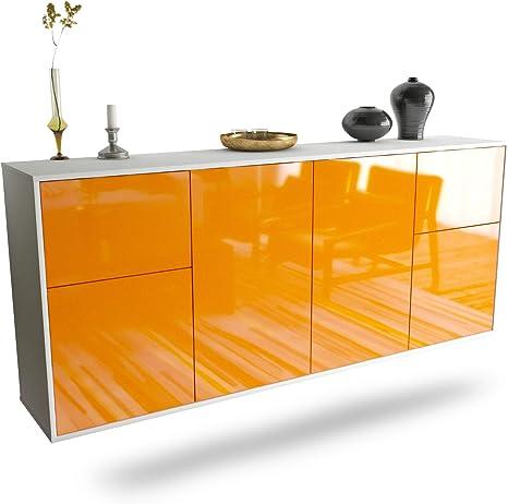 Front Hochglanz Orange 180x77x35cm Push-to-Open Leichtlaufschienen Dekati Sideboard McAllen h/ängend Korpus Weiss matt