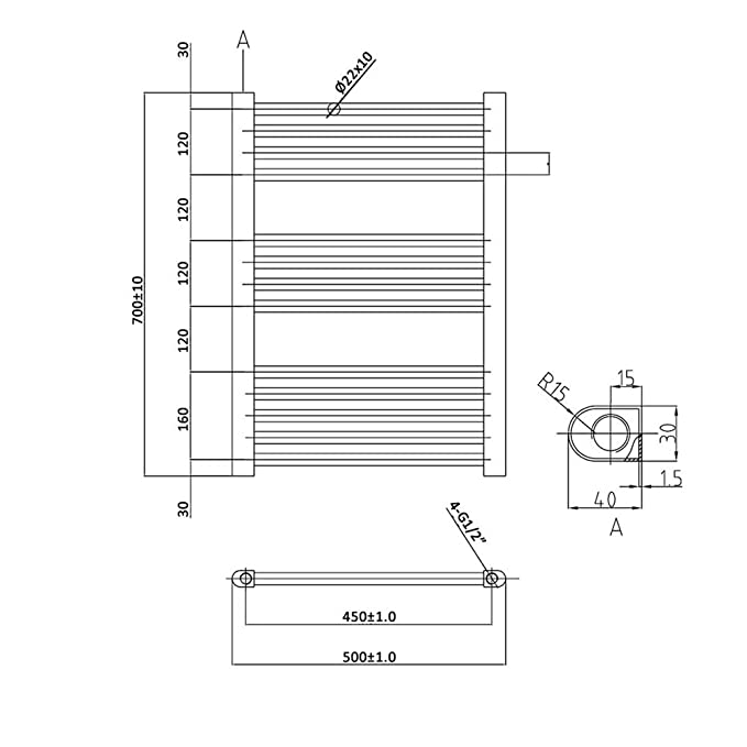 Hudson Reed Radiador para toallas de baño diseño compacto en gris/700 mm x 500 mm/335/W distancia entre ejes mm 450/Toallero termostático de agua y ...