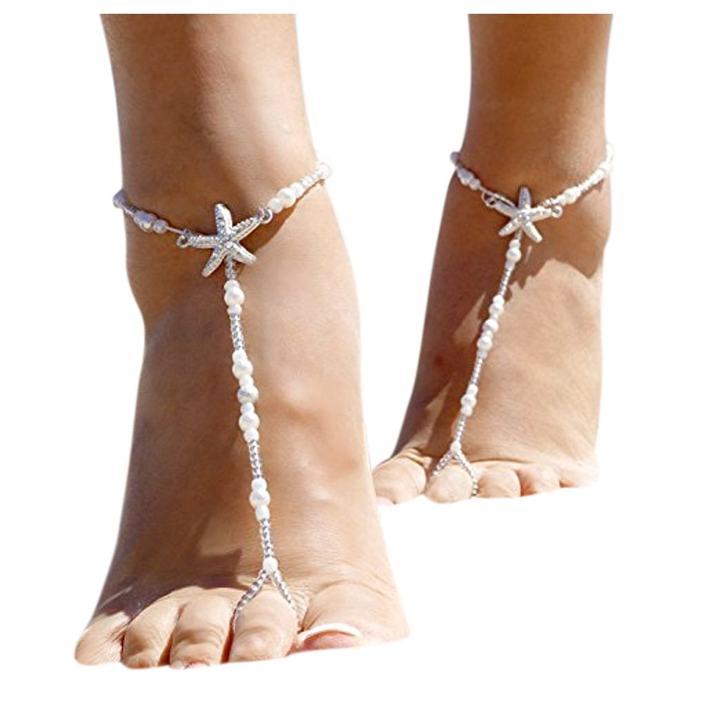 2pcs Women Fashion Rhinestone Barefoot Sandals Starfish Elastic Foot Chain Alloy Anklet ShiningLove XY-20170613-JY19