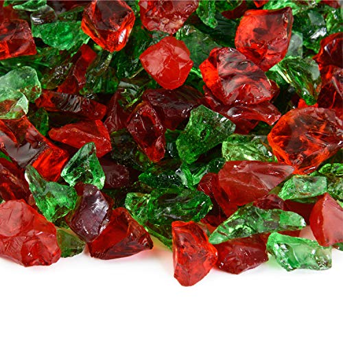 Holiday Spirit - Crushed Fire Glass Blend for Indoor and Outdoor Fire Pits or Fireplaces | 10 Pounds | 3/8 Inch - 3/4 Inch
