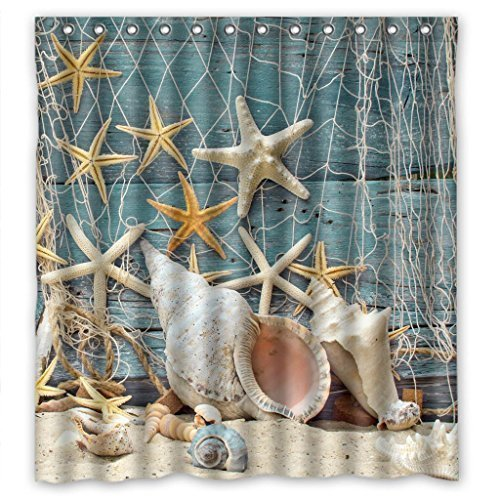 Sea Secret Conch Shell Starfish Waterproof Shower Curtain 66X72inches