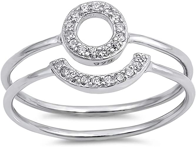 Cubic Zirconia Jewelry Gift Clear Glitzs Jewels 925 Sterling Silver CZ Ring