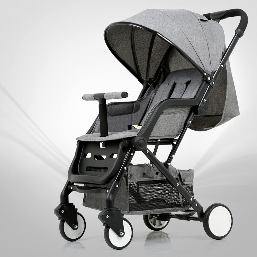 4 wheels Shock-Absorbing One Hand Folding Baby Stroller, 0-3 Years Old Child's Ultralight Portable Umbrella Pushchairs, Detachable Height-Adjustable Baby Cart (Color : Gray)