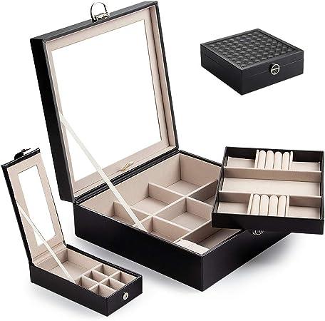 Caja Joyero con Espejo Caja para joyas joyero caja de joyas organizador de joyas 2 Niveles, Estuche de Joyas con Cerradura, con Espejo Abatible,Caja de joyería de Viaje Mini – Relojes (Negro-01):