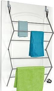 "Homz Towel and Garment Door Foldable Folding Space Saving Drying Rack, 23.5"" x 8.5"" x 39"", Silver"
