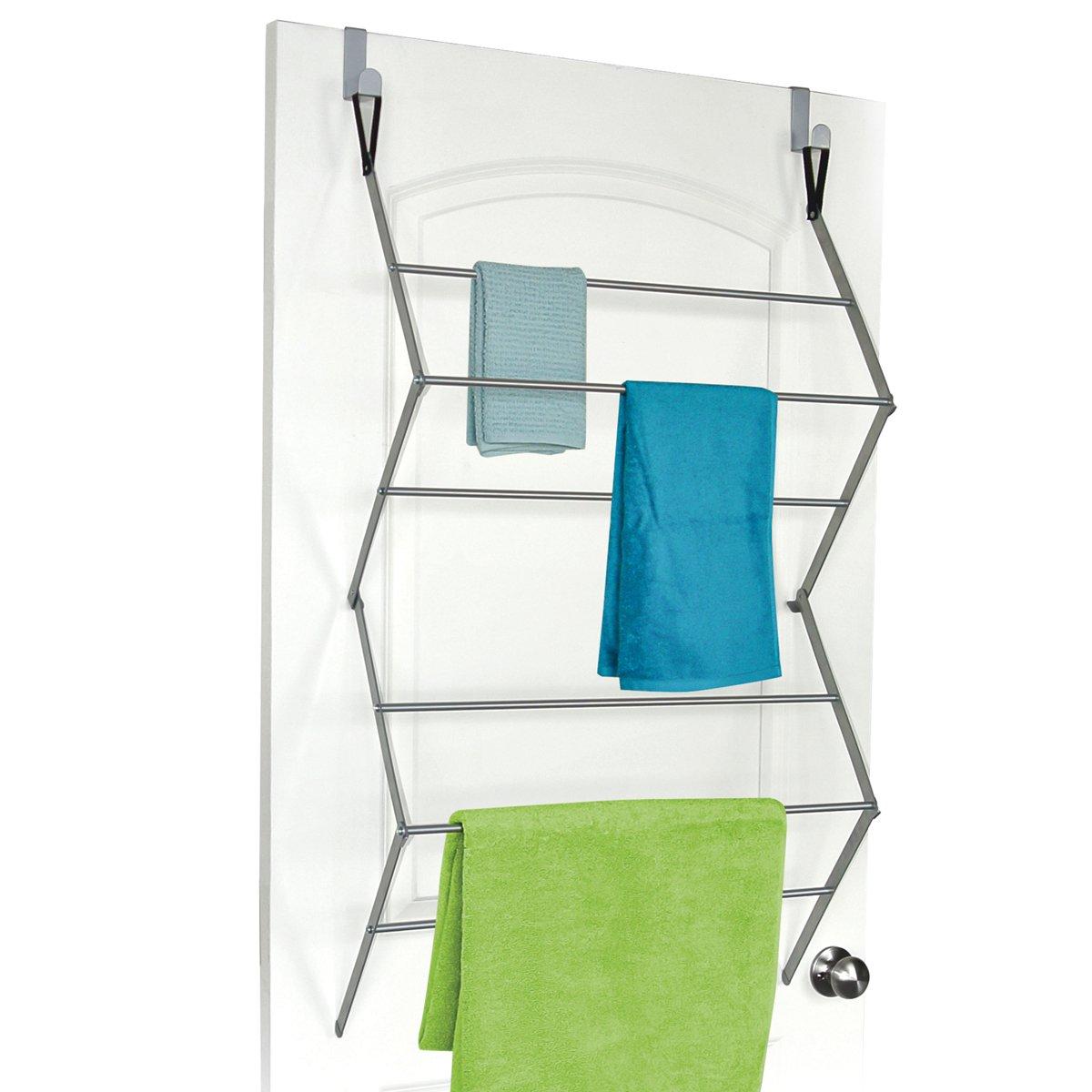HOMZ Over-The-Door Towel and Garment Drying Rack, Metal, Silver