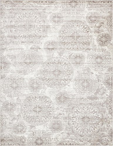 Unique Loom 3138680 Sofia Collection Traditional Vintage Beige Area Rug, 9' x 12' Rectangle, Light Gray
