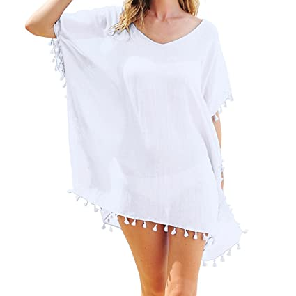 8663c27fb5 Women's Chiffon Beachwear with Tassel Cover up Beach Bikini Swimsuit Cover- ups .