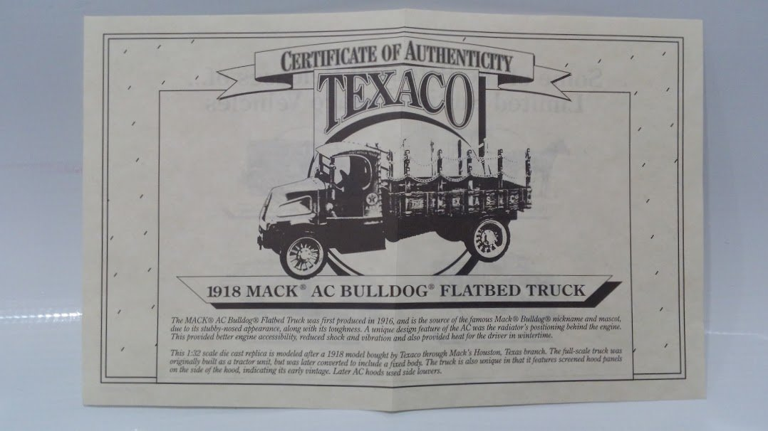 Ertl Collectibles Texaco 1918 Mack AC Bulldog Flatbed Truck 1:32 Scale  Diecast Bank