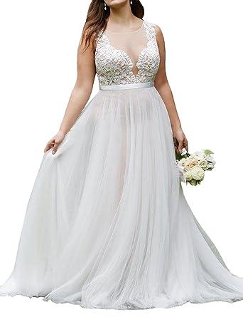 Mulanbridal Plus Size Lace Beach Wedding Dress Long Train Bride ...