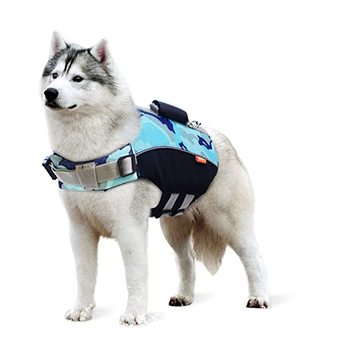 Zilee Perro Chaleco Salvavidas Chaqueta de Natación - Mascota Seguridad Natación Ropa de Natación para Mascotas con Rayas Reflectantes Cinturón Ajustable ...