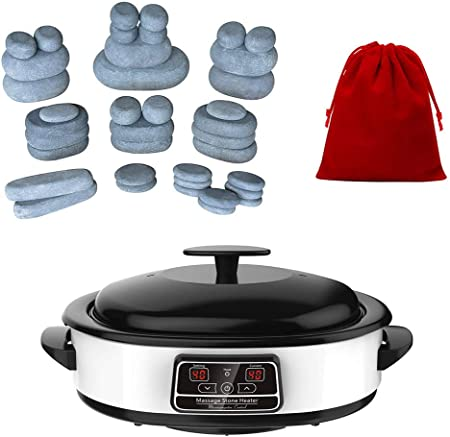 Massagemaster Hot Stone Massage Kit 38 Basalt Stones 4 25 Litre Digital Hot Stone Massage Heater Amazon Co Uk Health Personal Care