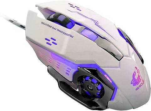White FEDULK Wired Mice LED Light 4000DPI Optical USB Ergonomic Pro Gamer Gaming Metal Plate Mouse