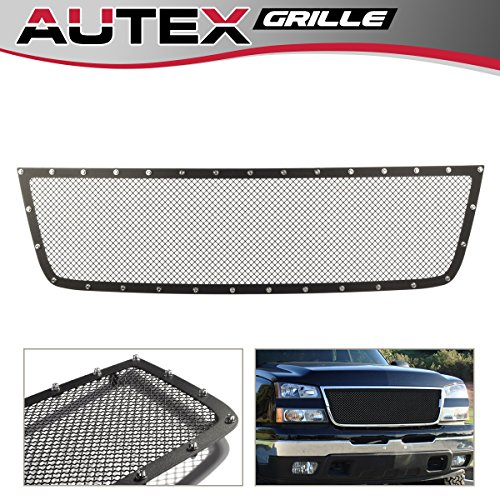 AUTEX Black Mesh Upper Grill Grille Insert Stainless Steel Rivet Style CL6576H for 05 - 06 Chevy Silverado 1500 HD / 2500 HD / 3500 HD / 07 Classic Style / 06 1500