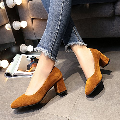 zapatos de zapatos y de solo mujer luz Amarillo silvestres Bold retro satén moda con femeninos 35 B87CAqqxw