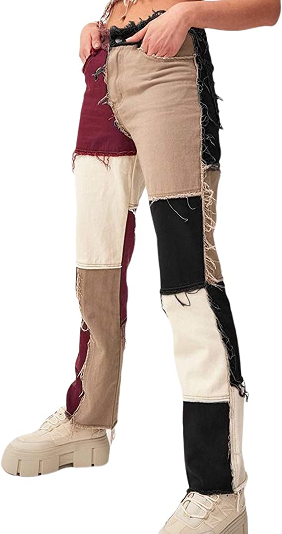 Vintage Brown Cropped Pants Women Straight Trousers Polyester Pants Mid Rise Trousers Womens Straight Pants Cropped Trousers Medium 28 Waist