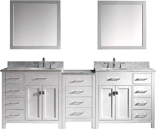 Virtu USA MD-2193-WMRO-WH Caroline Parkway Bathroom Vanity