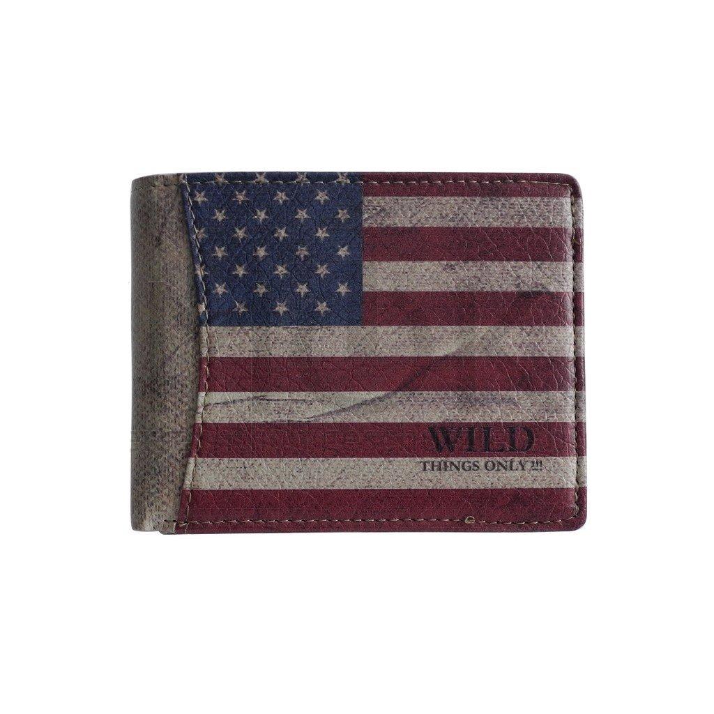 Wild Things Only! - Borsa con Bandiera USA ltext borsellino Portamonete in diversi form Aten - creata da ZMOKA, USA Style Querformat (Rosso) - 0