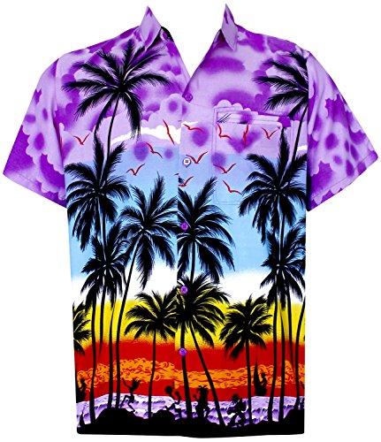 [La Leela Camp Matching hawaiian shirt and dresses mens 70s 80s 90s retro Vintage Island Men's Hawaiian Shirt XS Violet] (70s And 80s Dress)