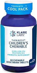 Klaire Labs Ther-Biotic Children's Chewable Probiotic - 25 Billion High CFU, 8 Strains - Probiotics for Kids - Supports Digestive Health and Immune Support - Hypoallergenic and Dairy-Free (60 Tablets)